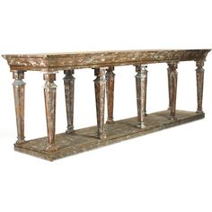 Vintage Provence Console Table ($3,675) ❤ liked on Polyvore featuring home, furniture, tables, accent tables, wood shelving, wood shelf, wooden shelving, wood accent table and 2 tier shelf