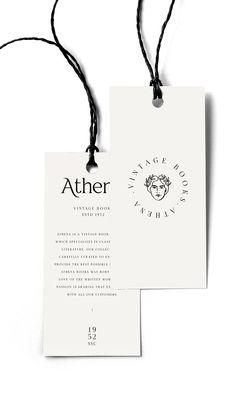 cairn and grace The studio branding process branding concept Athena vintage books mockup swing tags Label Design, Branding Design, Logo Design, Hangtag Design, Stationery Design, Corporate Design, Package Design, Design Design, Graphic Design