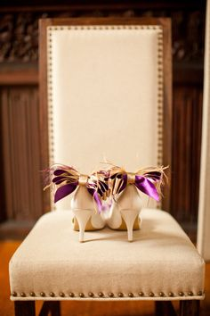 Nude And   Purple Bow And Feather Shoe Clips by Chuletindesigns, $40.00