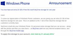 #Microsoft's holiday gift for #WindowsPhone users adds 20GB of extra #SkyDrive #storage for free