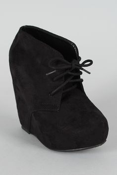 Soda Pager-S Suede Lace Up Platform Wedge Bootie $28.20