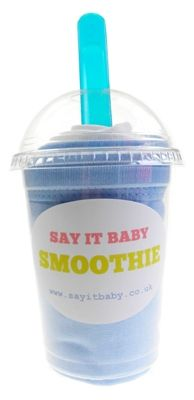 This baby bib smoothie is a fun and practical gift for a baby boy. It contains a set of 2 pull-over baby bibs made of 100% cotton - one in pale blue and one white. The smoothie comes complete with matching baby spoon, and presented in a fun smoothie cup. A great, unique gift for a baby boy.