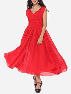 Image of Plain Captivating V Neck Maxi-dress