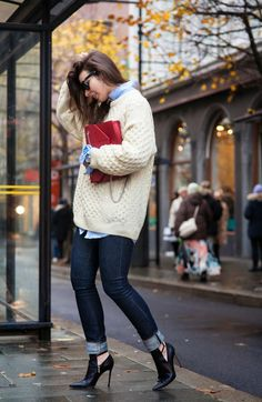 Cream cable knit.