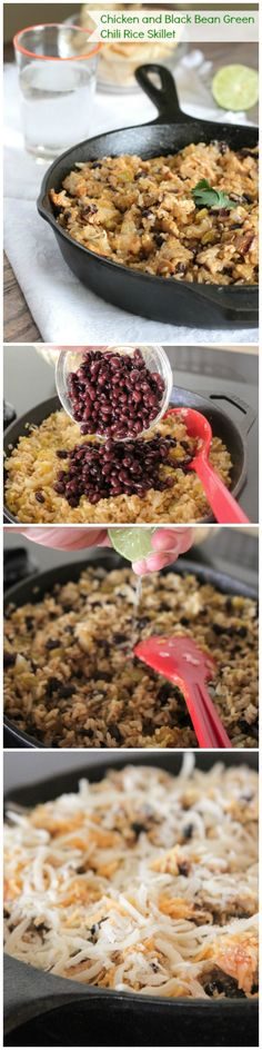 Chicken and Black Bean Green Chili Rice Skillet, perfect weeknight dinner!