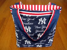 Large Novelty Tote Bag Handmade from New York Yankees MLB Cotton fabric Navy White American Baseball Sports Team REVERSIBLE with 1 Pocket! ~ Available on www.MaliakeiBags.com