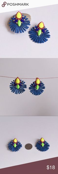 """🆕 Yellow & Blue Crochet Statement Earrings Beautiful blue Crochet piece with yellow and green glass stones. Under 2"""" in diameter. Gold plated metal that is lead and nickel compliant. Available in black and pink. Onlo Jewelry Earrings"""