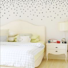 I like how they applied the dots to the wall! 120 Silver or Gold Metallic 2 inch Dots Vinyl by WallDressedUp