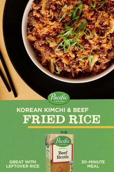 Use our Organic Beef Broth to stir up this tasty Korean Kimchi Fried Rice. Make Recipe. Rice Recipes, Asian Recipes, Beef Recipes, Dinner Recipes, Cooking Recipes, Ethnic Recipes, Beef Fried Rice, Kimchi Fried Rice, Korean Kimchi