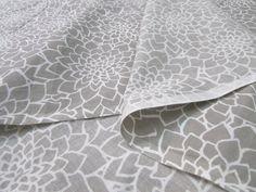 Organic Fabric Dahlia Floral Print Grey White by EcoFabricStore