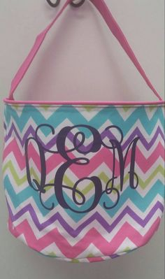 Check out this item in my Etsy shop https://www.etsy.com/listing/228506842/boutique-monogrammed-chevron-bucket