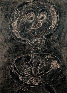 From Fondation Beyeler, Jean Dubuffet, Ponge feu follet noir (Ponge as Will-o'-the-Wisp) Oil on canvas on Pavatex, × cm Jean Dubuffet, Jean Philippe, Jean Michel Basquiat, Art Brut, European Paintings, Naive Art, Kandinsky, Outsider Art, French Artists