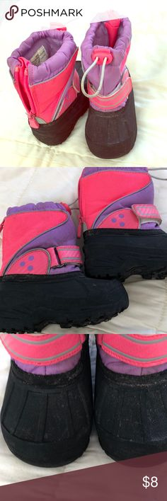 5/6 Girls snow boots pink/lavender/gray/black Cute Heavy rubber toes and shoe top. Velcro and zippers for easy on. Very good condition Shoes Rain & Snow Boots
