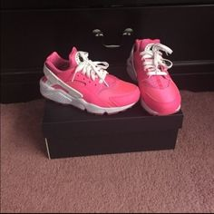 Pink and white huaraches New! Customized pink and white Nike huaraches.. Men's size six and a women's size 8.             No trades only selling Nike Shoes Sneakers