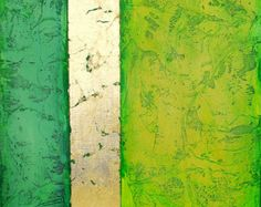 Abstract acrylic painting modern original fine art Textured chartreuse green emerald  canvas Titled..Golden Path 7..size.18X18 By Ava Avadon