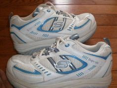 WOMENS sz 6 SKECHERS SHAPE-UPS walking SHOES athletic TEAL, SILVER sneakers EUC!