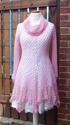 Kleider - Tunika Lagenlook rosa Zipfel 36/38 - ein Designerstück von  strickmaus bei DaWanda
