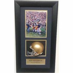Ncaa Autographed Shadowbox with Mini Helmet, Rudy Ruetiger Notre Dame