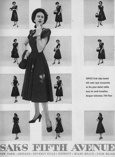 What a delightful ad, it's not everyday one sees just about every angle of a vintage dress like this charmer from 1947 in print. #vintage #fashion #dress #1940s #ad