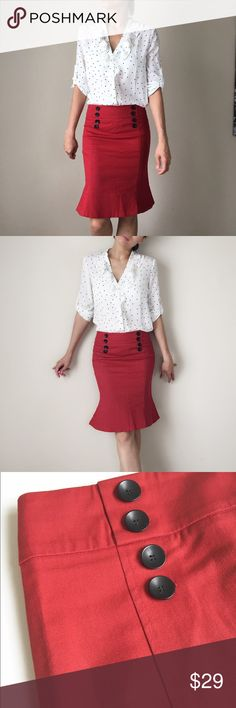 """Red bombshell pencil flare skirt TOP SHOP Top SHOP red bombshell pencil flare skirt. Size 8: w;13.5"""" length:21"""" b:16"""". Made in Romania. 98% cotton 2%elastane. Prelove. Good quality and looks new. Topshop Skirts Midi"""