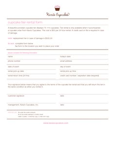 cake order contract | cupcake tier rental form - PDF - PDF