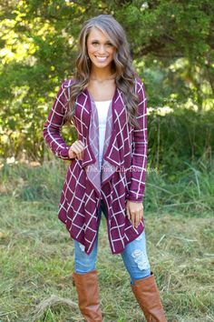 The Pink Lily Boutique - Burgundy Street Cardigan in Burgundy , $39.00 (http://thepinklilyboutique.com/burgundy-street-cardigan-in-burgundy/)