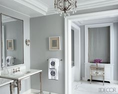An All-Star Home Makeover. walls are painted in Cliffside Gray by Benjamin Moore.