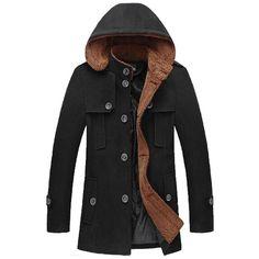 Men's Autumn Winter Fashion with Hood Trench Coat Mens Hooded Coat, Hooded Trench Coat, Hooded Coats, Winter Trench Coat, Winter Parka, Mens Windbreaker, Knit Jacket, Autumn Winter Fashion, Stylish