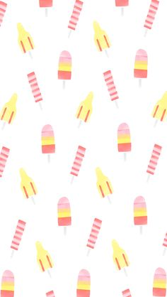 Summer Ice Pops Watercolor iPhone Wallpaper Home Screen @PanPins