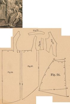 Der Bazar 1887: Heliotrope colored faille ball dress with lace; 24. drapery part, 25. bodice's front part, 26. side gore, 27. and 28. back parts, 29. berthe
