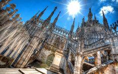 Download wallpapers Duomo, Milan cathedral, ancient architecture, italian landmarks, Duomo di Milano, Milan, Europe, Italy