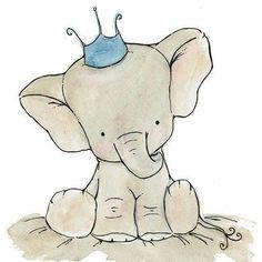 elephant illustration, cute prince