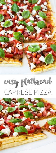 Flatbread Caprese Pizza - super easy and fast to make! Crisp puff pastry brushed with pesto and baked to a golden brown. Topped with tomatoes, mozzarella, and basil leaves and drizzled with crema di balsamico.