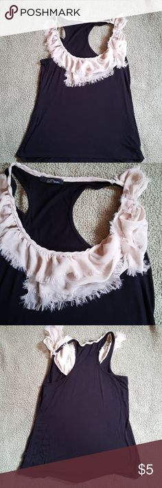 Tank with ruffles Cite tank with ruffles and a bow around the collar med. B'leev Tops Tank Tops