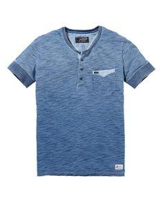 Camiseta índigo de manga corta con cuello granddad | Camiseta de manga corta | Ropa para hombre en Scotch & Soda