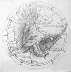 Eagle stained glass pattern 24 Round 2 prints