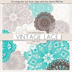 Clipart Doily Clip art teal brown beige white by 1burlapandlace, $4.99
