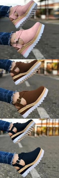 Theme:Summer Style:Wedges Upper Material:PU Accents:Buckle Gender:Women Upper Material Of Shoes:PU Cute Sandals, Cute Shoes, Wedge Sandals, Me Too Shoes, Sneakers Mode, Sneakers Fashion, Fashion Shoes, Zapatos Shoes, Shoes Heels
