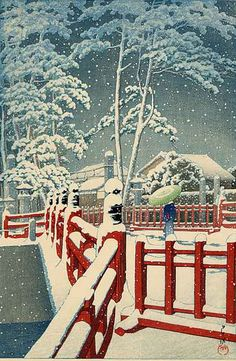 "Kawase Hasui was recognized for his ability to depict snow scenes. Great Japanese scholars like the eminent Naruzaki Mureshige liked to describe Kawase Hasui as the ""Artist of Snow"". He became one of the best known artists of the New Print movement and was named a Living National Treasure in 1956."