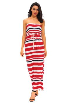 Robes Longues Nautical Rouge Stripe Impression Robe Bustier