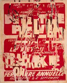 """Jacques Villeglé - Rue Du Pre Saint Gervais 1970 decollage mounted on canvas 39 1/8 x 31 1/4"""""""