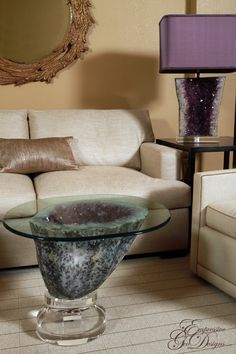 Amethyst Geode Table With Custom Wooden Base and Custom Glass Top