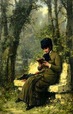 Femme lisant sur un banc. Henri Bouchet-Doumenq (French, 1834-1908).