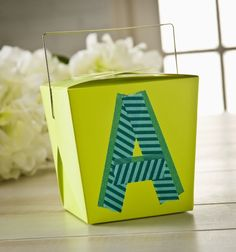 take out container monogrammed with washi tape