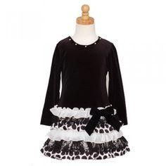 rare editions black ivory dot ruffle christmas holiday dress girl 4 16