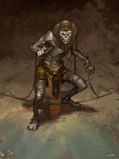 by ZhangQipeng on DeviantArt Fantasy Dragon, Fantasy Rpg, Dark Fantasy, Egyptian Goddess, Egyptian Art, Egyptian Mythology, Egypt Concept Art, Tomb Kings, Character Art