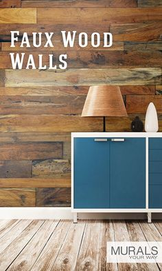 Wood themed wall murals give you the look of wood, but install like wallpaper.