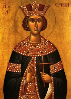 Born Penelope in Magedon of Persia during the reign of Constantine the Great AD) of the governor Licinius and his wife Licinia. Irene, Saint Katherine, Constantine The Great, Byzantine Art, Religious Art, Ancient History, Pagan, Illusions, Religion
