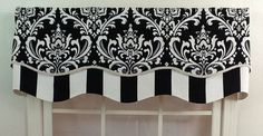Valance Shapes | Damask layered shaped valance in black , navy or grey with trim. $49 ...