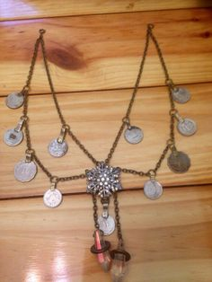 Tribal fusion necklace featuring a vintage crystal pendant and kuchi coins on Etsy, $95.00 AUD